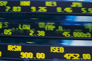 ca. 2003 --- Close-up of Electronic Stock Ticker --- Image by © Royalty-Free/Corbis